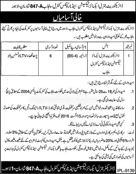 Excise and taxation department Jobs july 2016