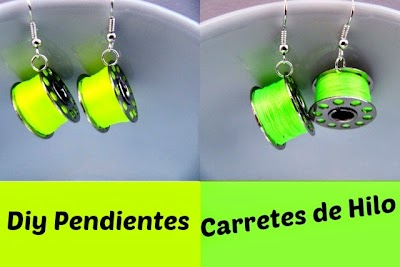 2 Pendientes Carretes Hilo y Ovillo Lana Diy,s