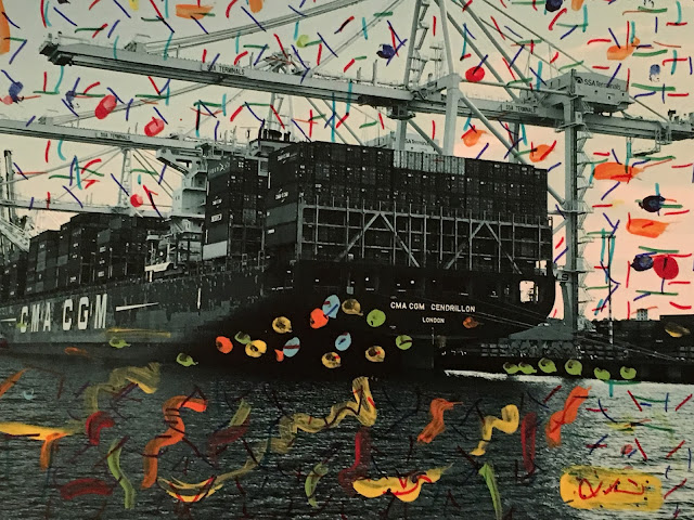 """CMA CGM Cendrillon"" 8"" x 10"" mixed media, original photograph"