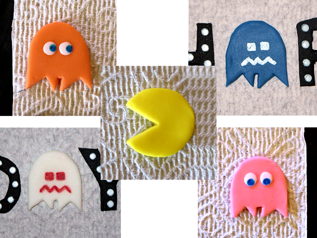 Nerdy Thirty Cake - Fondant Ghosts & Pac-Man Decorations Collage