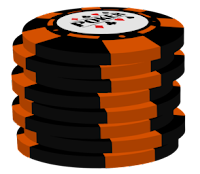 orange on black poker chip stack