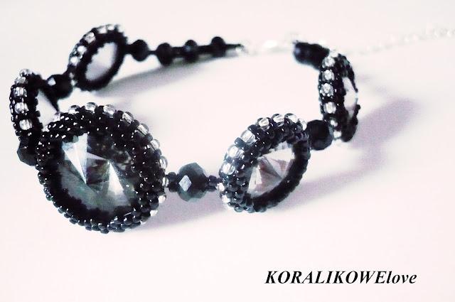 bransoletka z koralików ręcznie robiona z kryształkami