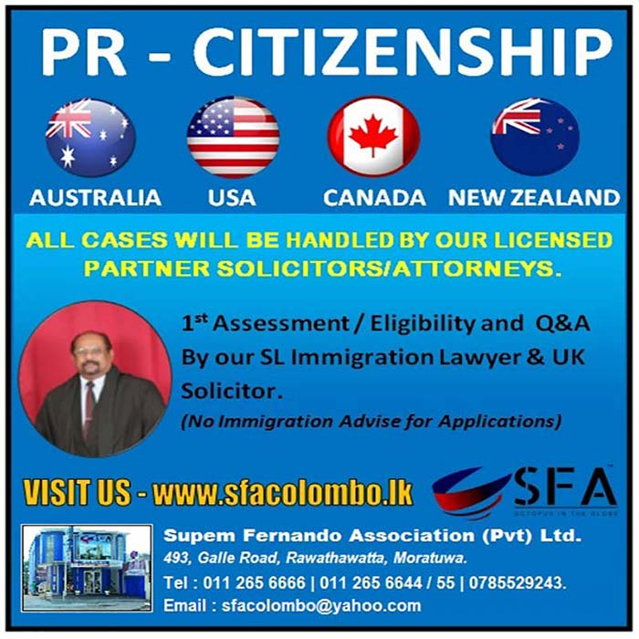 We are Legal Consultants over 29 years' experience in the legal profession in Sri Lanka and 'Solicitors' of England and Wales since 1991. We are Professional Lawyers for Immigration Laws in all countries working jointly with accomplished educationists such as 'Senior Lecturers and University Professors'. We are established all over the world where our Team Lawyers and Partner Lawyers get together in case by case. That's the reason SFA is different from many consultants and the reason of being in the front of both 'Student Recruitment' and 'Migration' professions. SFA has been appointed as the 'Regional Office' in Sri Lanka for UK and Chinese Universities where SFA is working with it's 'Umbrella Network' of other 'Agents' in the education sector. SFA is the pioneer and only consultant in Sri Lanka advice the general public through 'Television Media' for all countries of the world. SFA provides Agent Training Sessions and free Immigration Law advisory service to it's Network Agents in their difficulties.