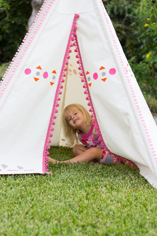 Diy painted kids teepee design improvised for Build your own canvas tent