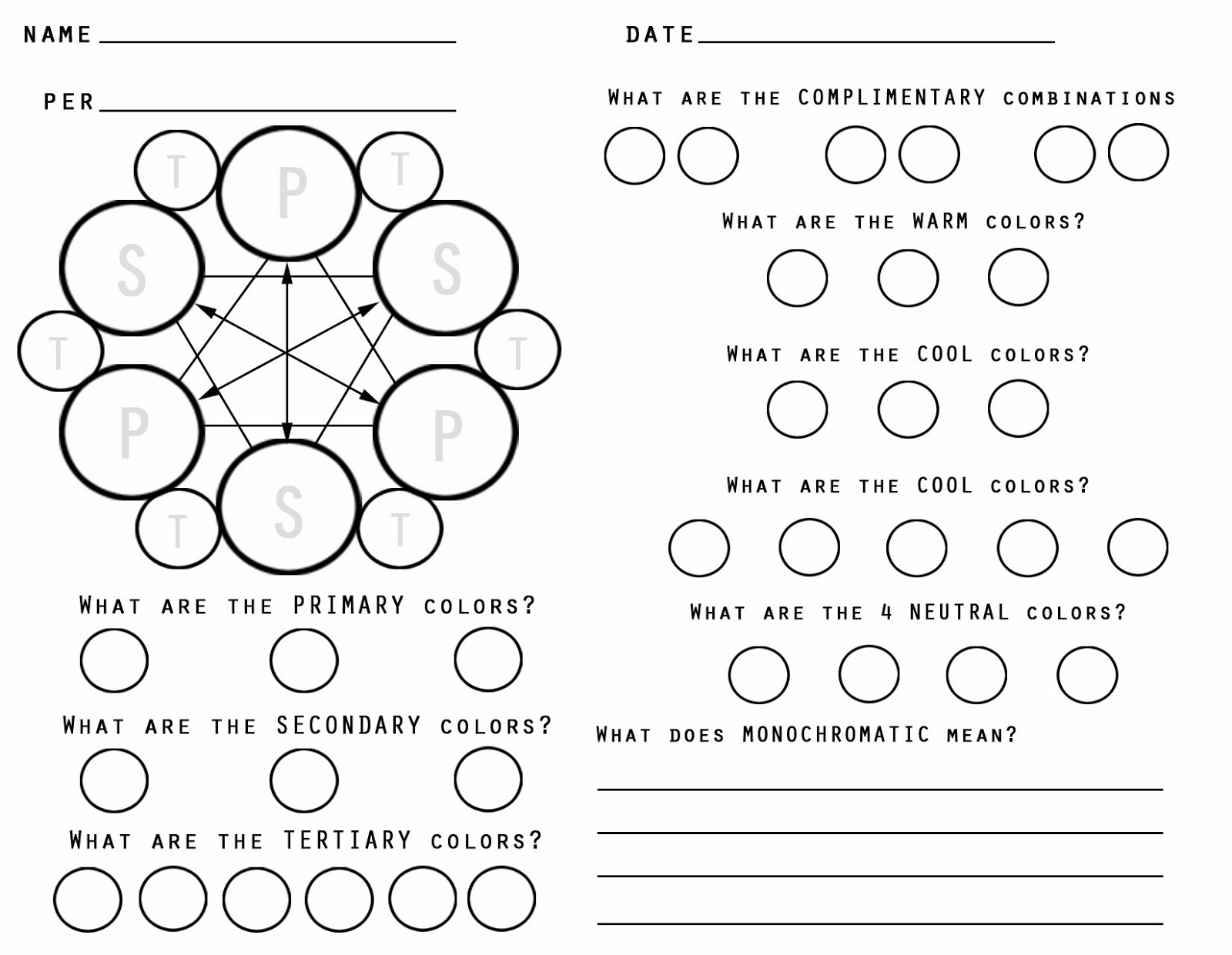 Color Wheel Worksheet Sketch Coloring Page