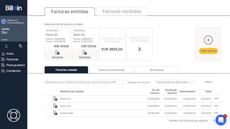 Herramienta de facturación online para pymes y autónomos - Billin