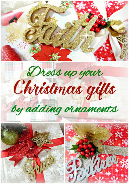 Christmas gift wrapping ideas. Use ornaments to spruce up your Christmas gifts. #DIY