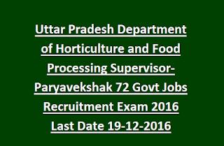 Uttar Pradesh Department of Horticulture and Food Processing Supervisor- Paryavekshak 72 Govt Jobs Recruitment Exam 2016 Last Date 19-12-2016