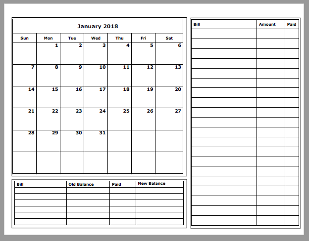 graphic relating to Budget Calendar Printable known as Grace Christian Homeschool: Free of charge 2018 Spending budget Calendars Are