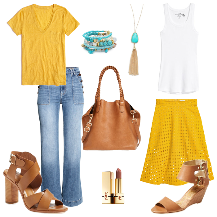 yellow midi skirt outfit