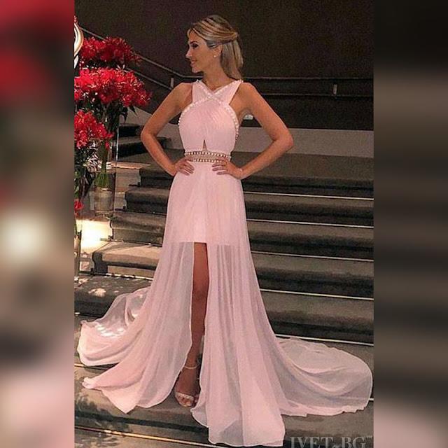 Αμάνικο εντυπωσιακό  μάξι ροζ φόρεμα ROSALIA