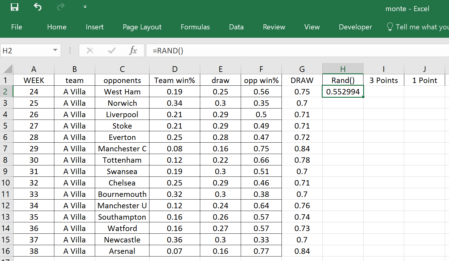 The Power Of Goals Using Excel To Simulate Villa S Demise