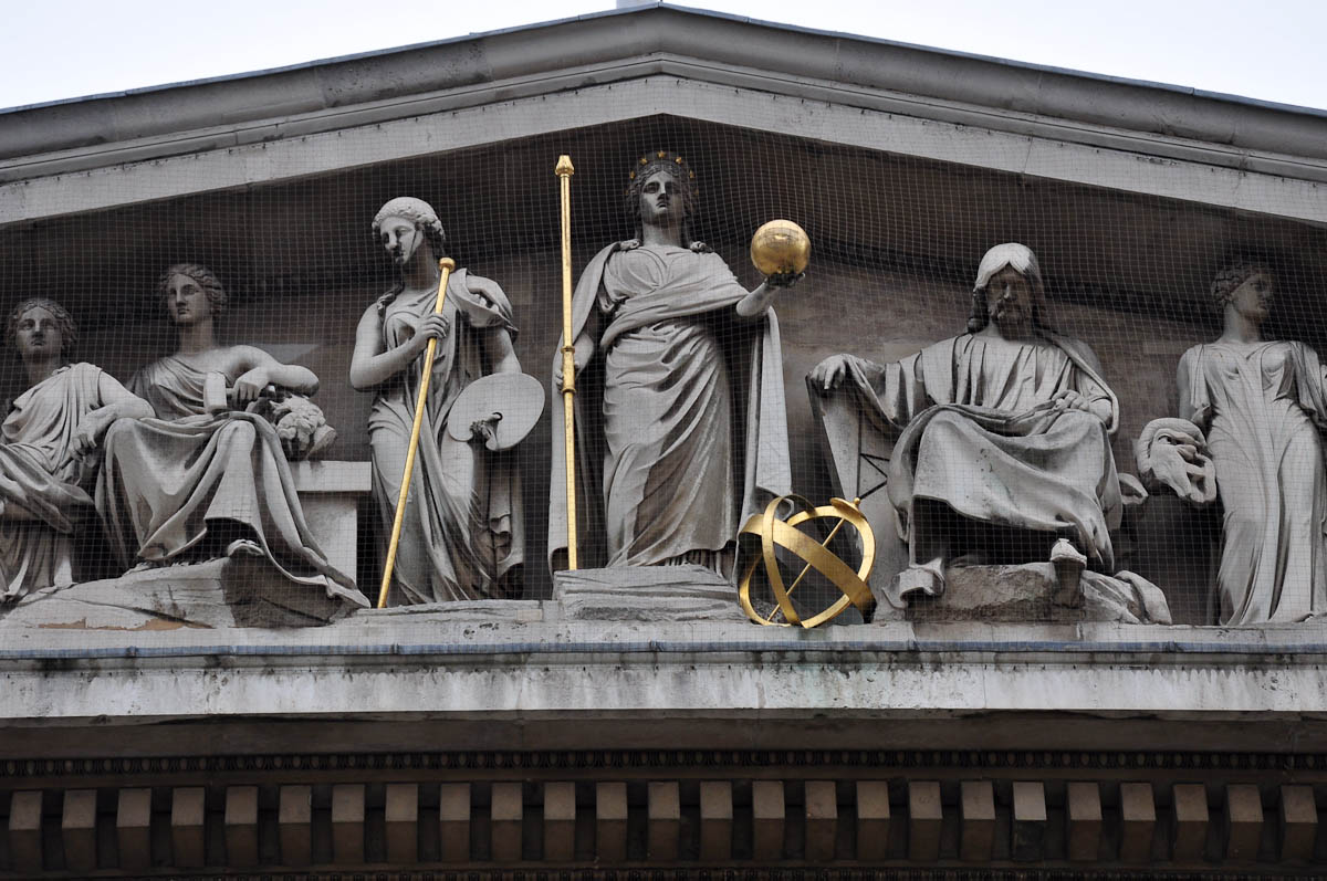A close-up of the sculptures atop the Greek Revival facade of the British Museum, London, England