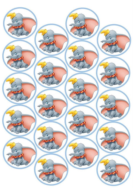 Toppers o Etiquetas de Fiesta de Dumbo para Imprimir Gratis.