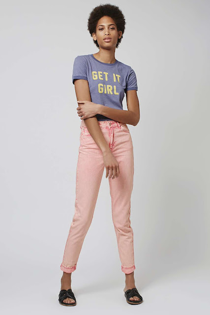 topshop pink jeans, pink high waist jeans, pink mom jeans,