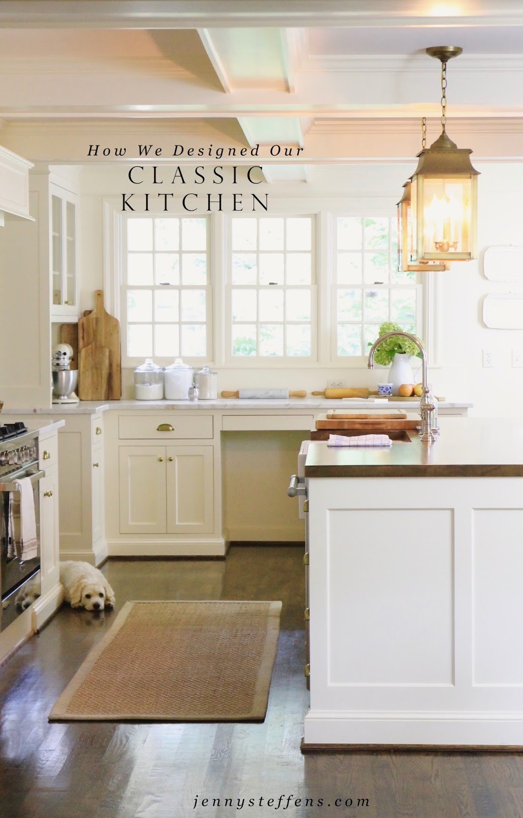 Jenny Steffens Hobick Our Classic White Kitchen Design Marble Countertops Wood Island Top