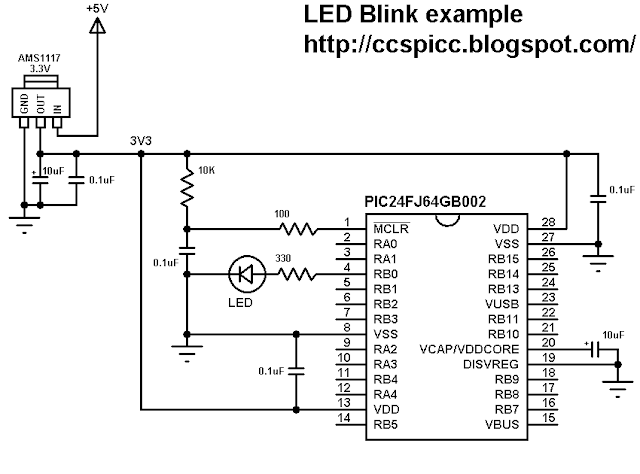 PIC24FJ64GB002 LED blink example circuit