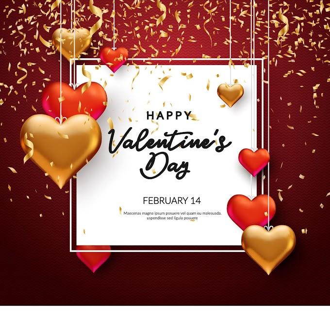 Golden flying confetti valentine greeting card free vector
