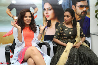Actress Suma in Black Salwar Suit and Anusuya in orange Dress at winner movie press meet part 2 February 2017 (10).JPG
