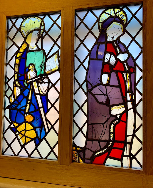 Stained glass at Ordsall Hall, Salford, Manchester UK
