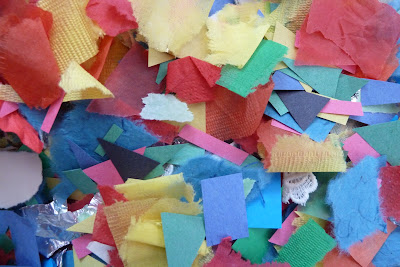 Scraps of coloured paper