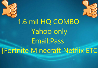 1.6 mil HQ COMBO  Email:Pass  Fortnite Minecraft Netflix ETC