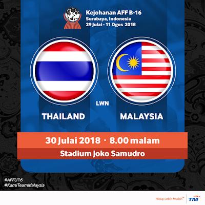 Live Streaming Thailand vs Malaysia AFF U16 30.7.2018 Indonesia