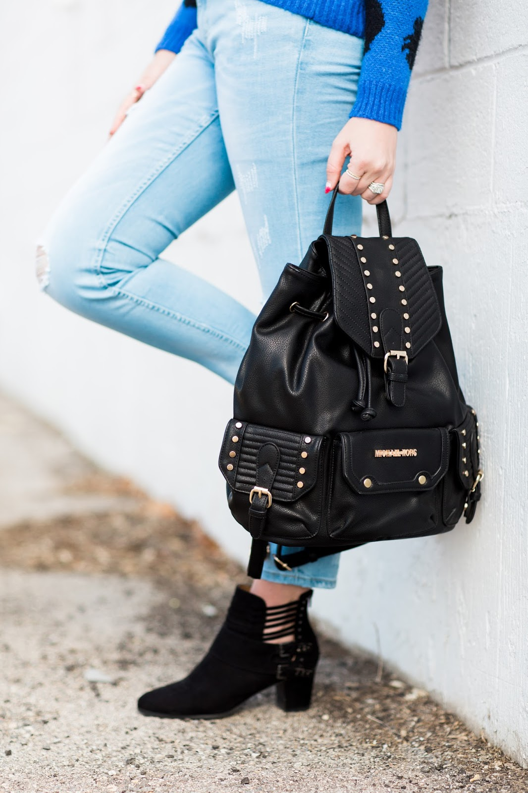 Michael Kors, Studded Backpack, ASOS jeans