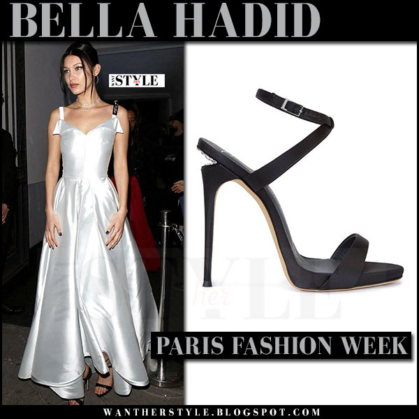 Bella Hadid in silver silk gown dior and black sandals giuseppe zanotti dionne what she wore paris fashion week