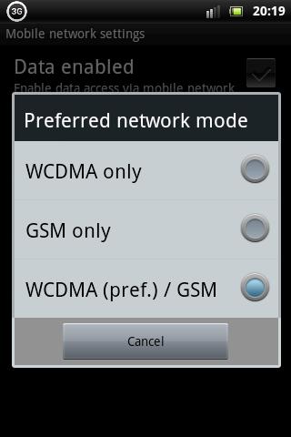 Xperia Mini Pro Network Mode