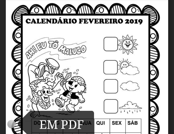 Calendários fevereiro 2019 com e sem numeração Turma da Mônica para imprimir.