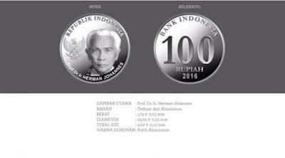 Uang rupiah baru pecahan Rp 100 logam