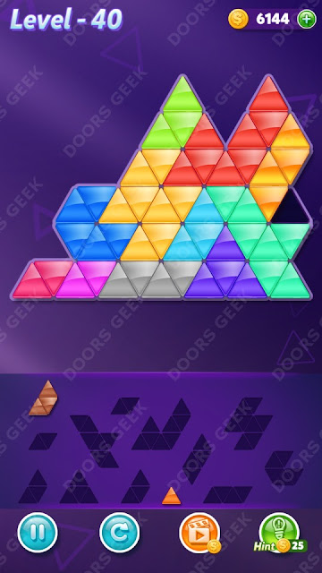Block! Triangle Puzzle 12 Mania Level 40 Solution, Cheats, Walkthrough for Android, iPhone, iPad and iPod
