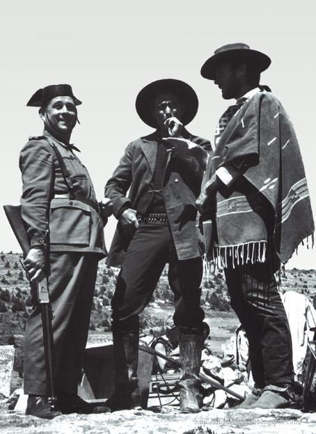 Clint Eastwood in the company of a Spanish policeman during the shooting of The Good, The Bad, and The Ugly