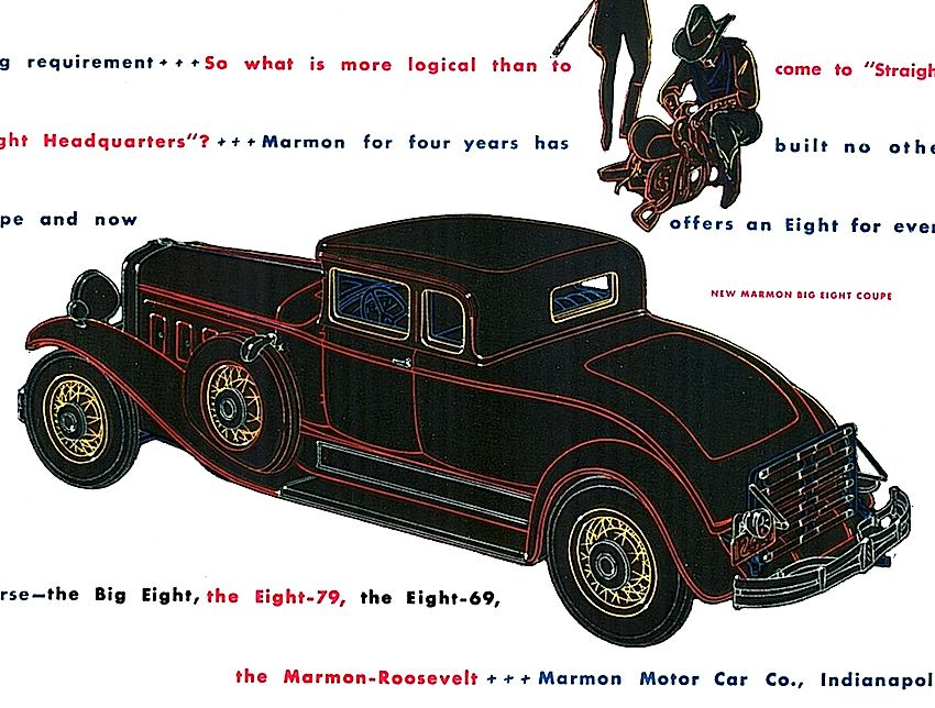 1930 Marmon Roosevelt ad illustration