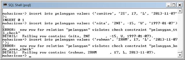 Kelas Informatika - Pembuktian Fungsi Check dengan Melakukan Insert Data