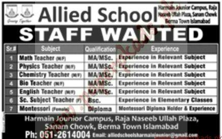 Jang, 18-09-2016, Allied School Jobs, Allied School Jobs in Islamabad, Islamabad, Private Jobs,
