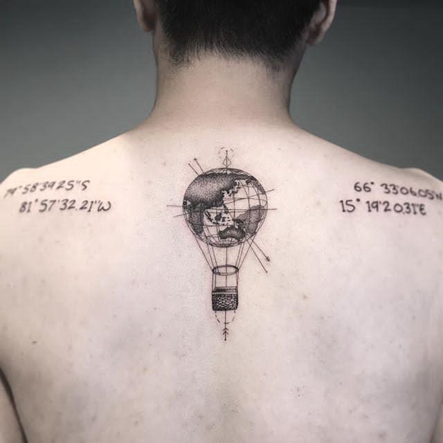 earth tattoo design for men back