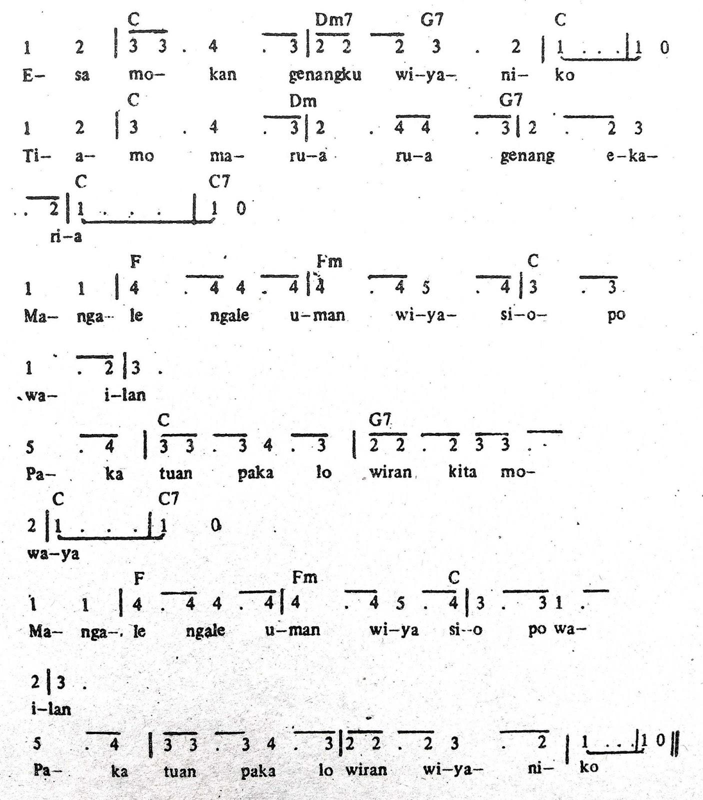 Chord & Arti Lirik Lagu Sulawesi Utara: Esa Mokan + Not Angka