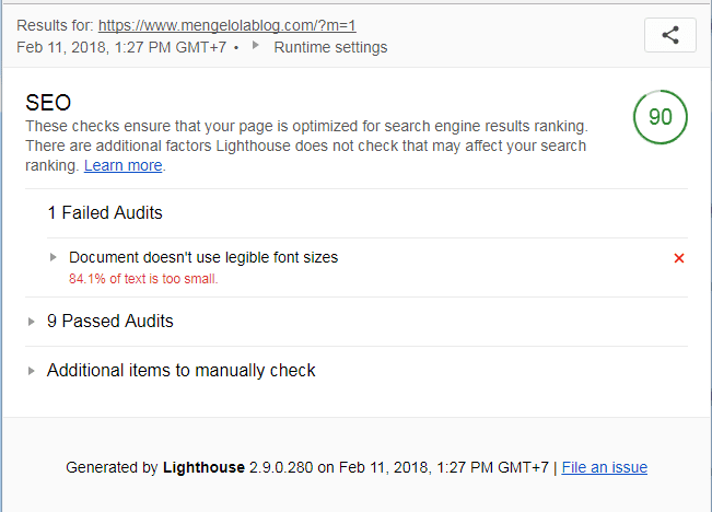 seo audit dengan lighthouse