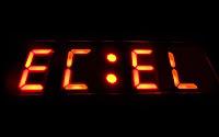 Dijital bir saat üzerinde kırmızı renkli ecel yazısı