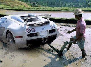 Bajak sawah menggunakan mobil sport. LUAR BIASA