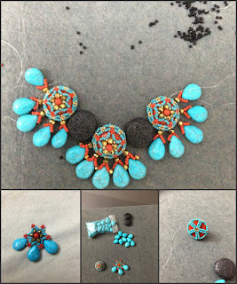 coral, turquoise