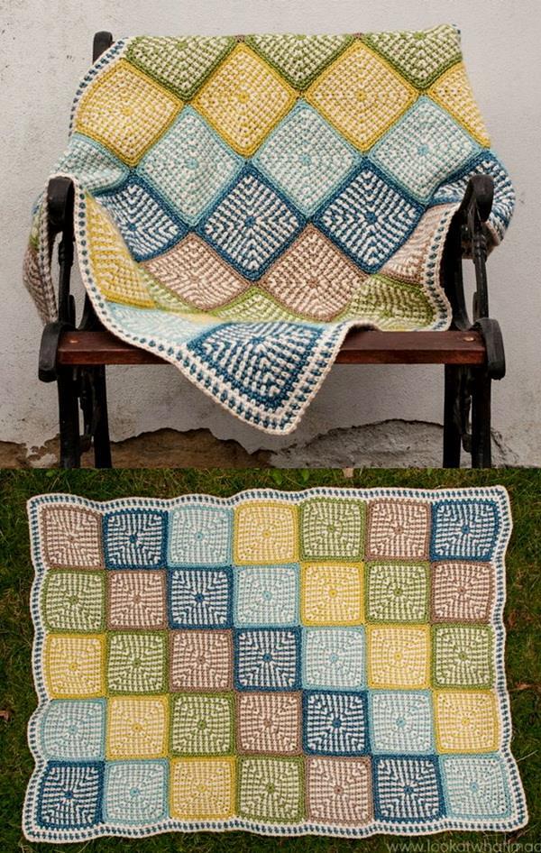 Free crochet pattern of Linen-Stitch square motif blanket
