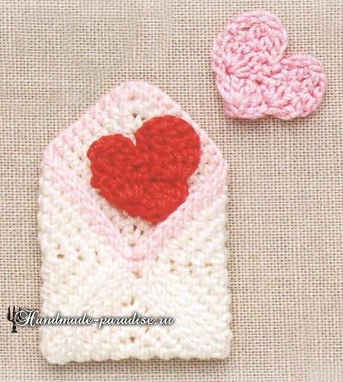 Вязаный конверт с сердечками