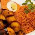 Yummy Jollof Rice With Moi Moi And Plantain