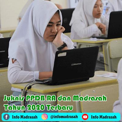 Juknis PPDB Tahun 2020 yang mengatur tentang Penerimaan Peserta Didik Baru untuk Raudlatul Athfal (RA) dan Madrasah (MI, MTs, MA, dan MAK) pada Tahun Pelajaran 2020/2021. Adalah Keputusan Direktur Jenderal Pendidikan Islam Kementerian Agama Nomor 7265 Tahun 2020 tentang Petunjuk Teknis Penerimaan Peserta Didik Pada Raudlatul Athfal, Madrasah Ibtidaiyah, Madrasah Tsanawiyah, Madrasah Aliyah, dan Madrasah Aliyah Kejuruan Tahun Pelajaran 2020/2021.