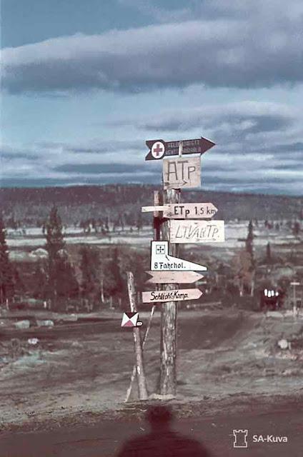 Finnish Road Signs at Salla 26 September 1941 worldwartwo.filminspector.com