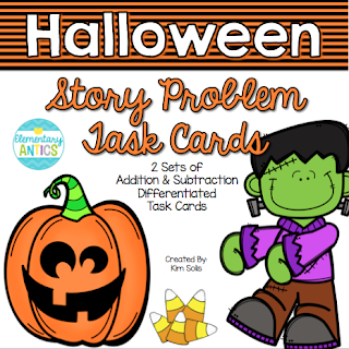 Halloween Addition & Subtraction Story Problem Task Cards are a great math center for fall!