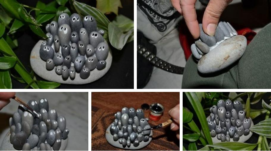 Enrhedando manualidades for Decoracion con piedra